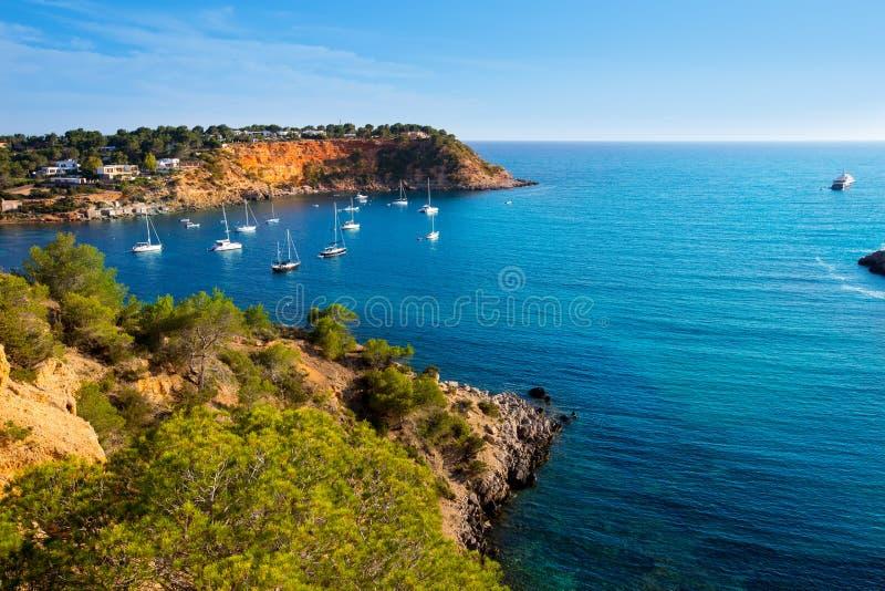 Ibiza ES Porroig也端起罗伊格景色在拜雷阿尔斯 免版税库存照片