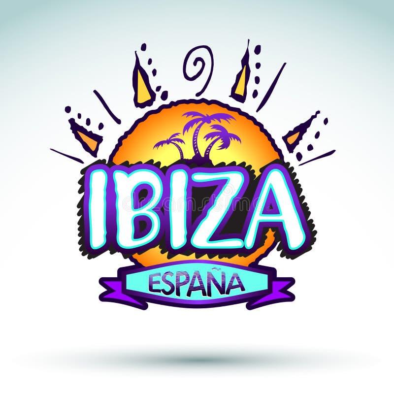 Ibiza Espana - Spanien, vektorsymbol, emblemdesign royaltyfri illustrationer
