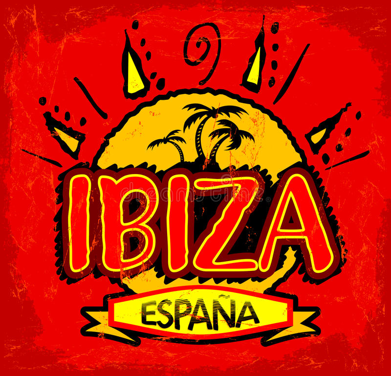 Ibiza Espana - van Ibiza Spanje Spaanse tekst stock illustratie