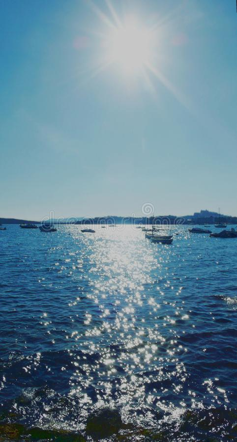 Ibiza fonkelt 1 - blauwe versie stock fotografie