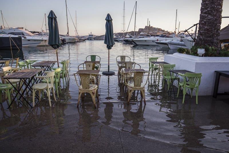 Ibiza fora do café fotografia de stock royalty free