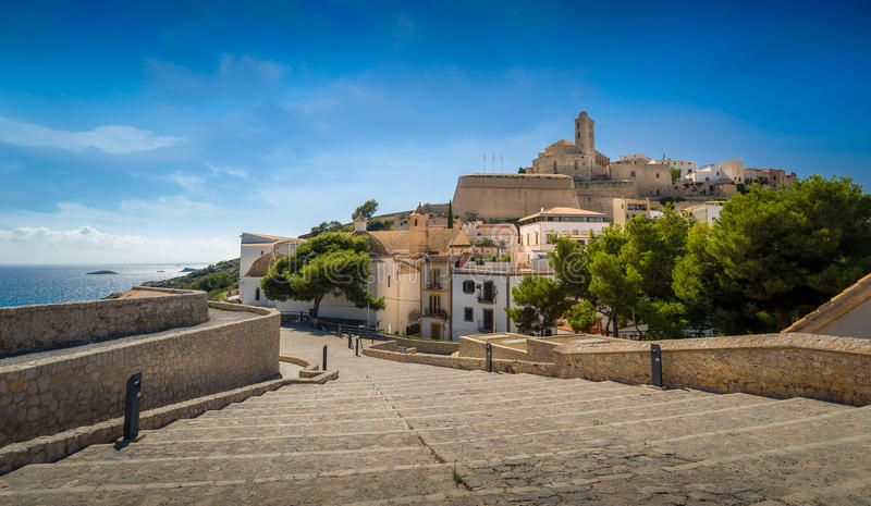 Ibiza gammal stad arkivfoton