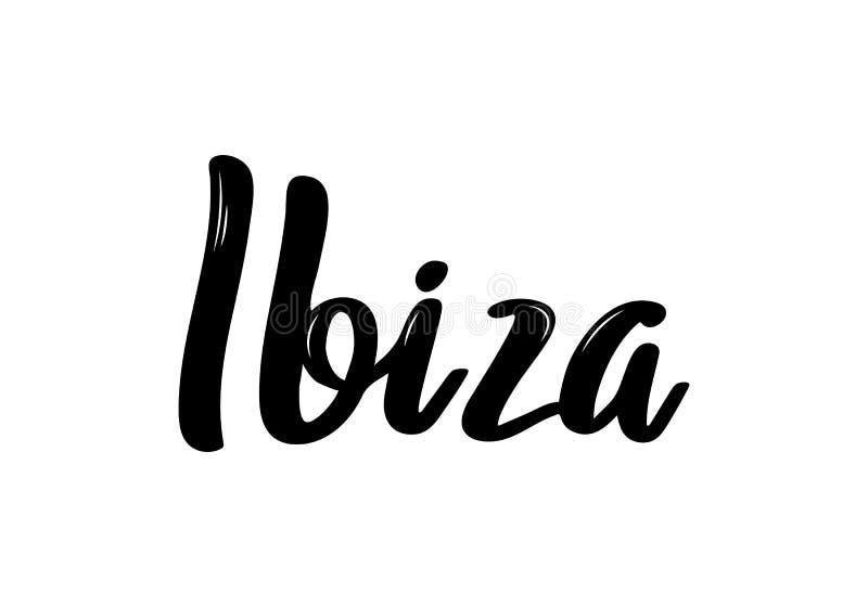 Ibiza hand-bokstäver kalligrafi Hand dragen borstekalligrafi vektor illustrationer