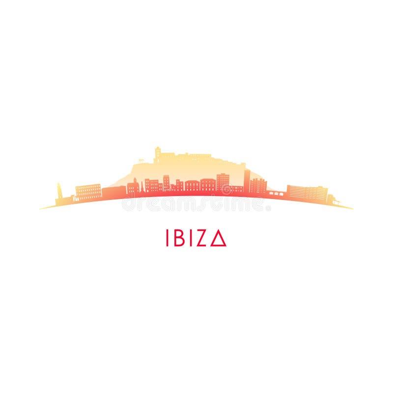 Ibiza horisontkontur royaltyfri illustrationer