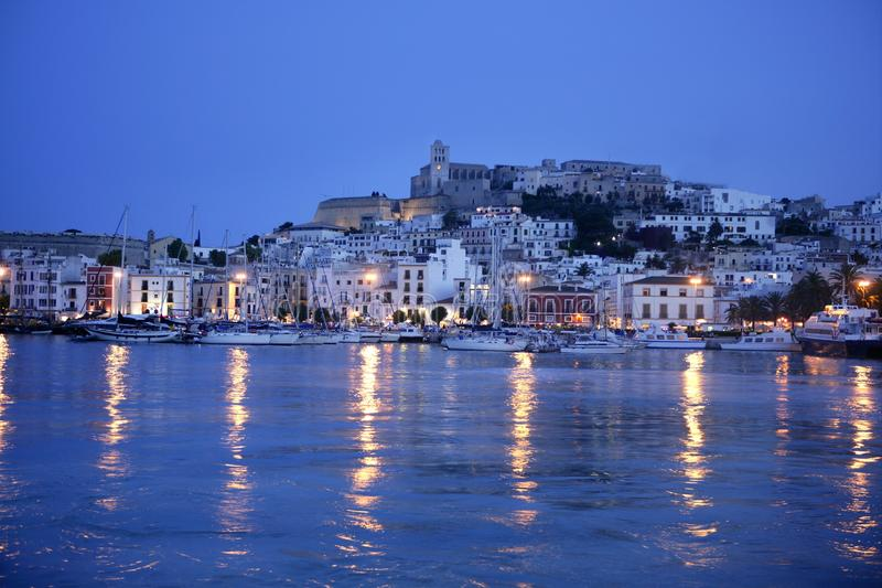 Ibiza island night harbor in Mediterranean royalty free stock photography