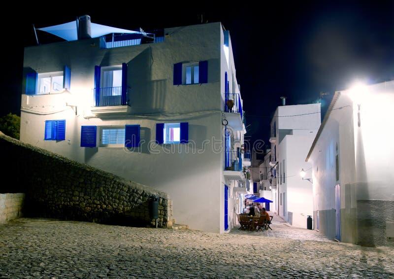 Ibiza island white houses in the night