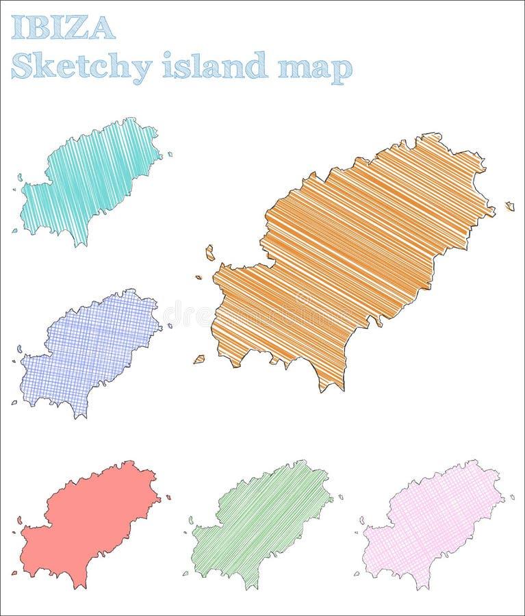 Ibiza knapphändig ö stock illustrationer