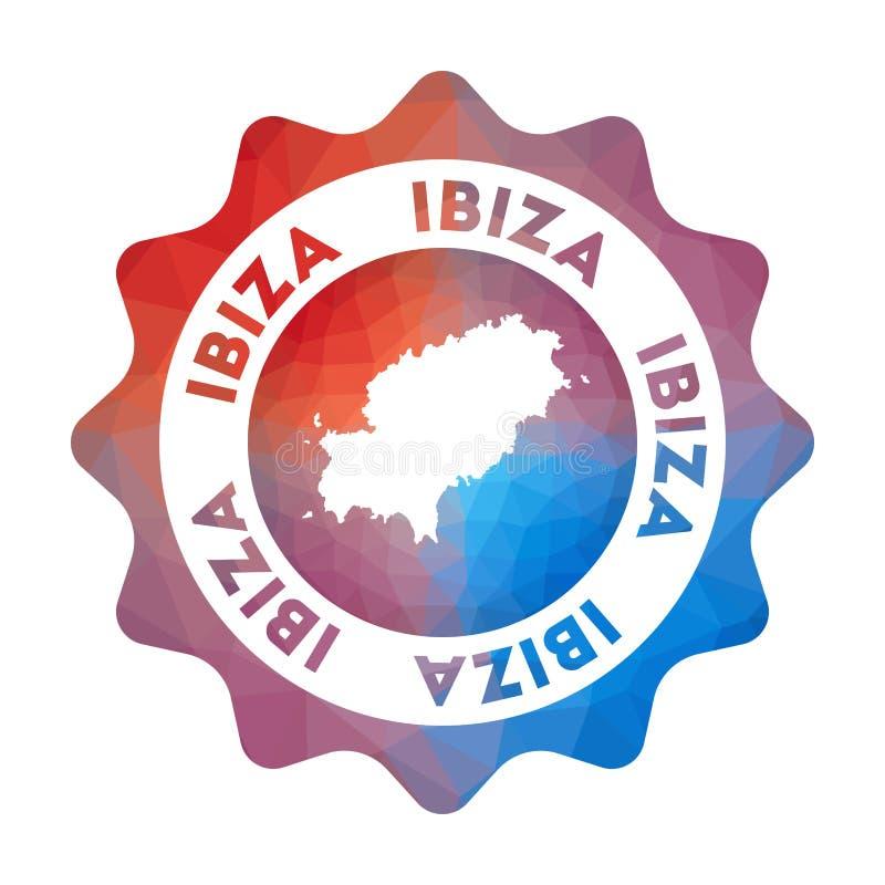 Ibiza låg poly logo stock illustrationer