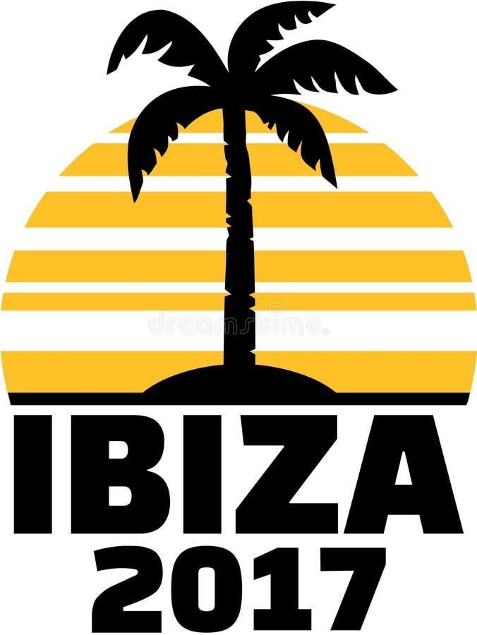 Ibiza 2017 med gömma i handflatan och solen vektor illustrationer
