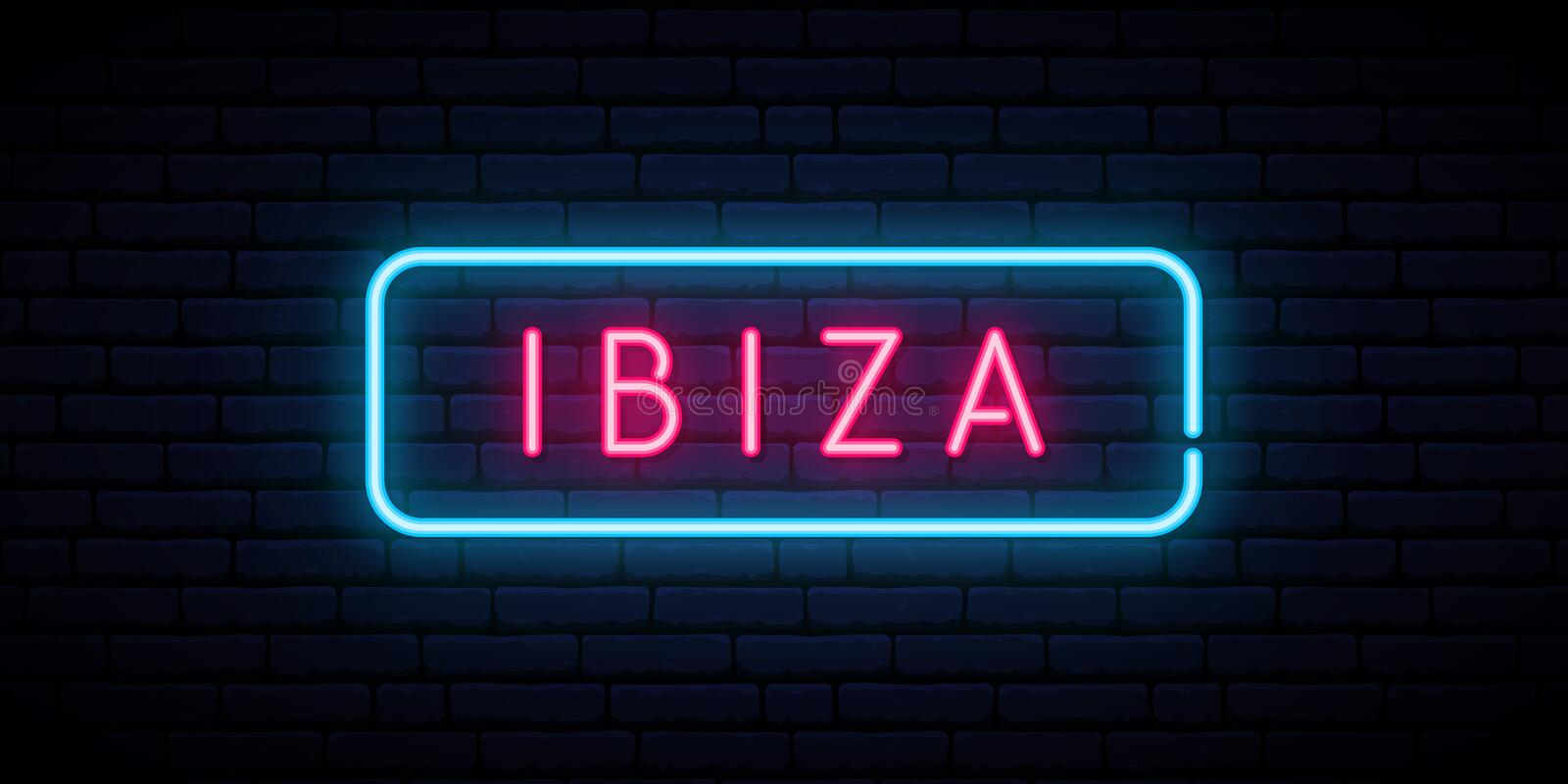 Ibiza neontecken Ljus ljus skylt royaltyfri illustrationer