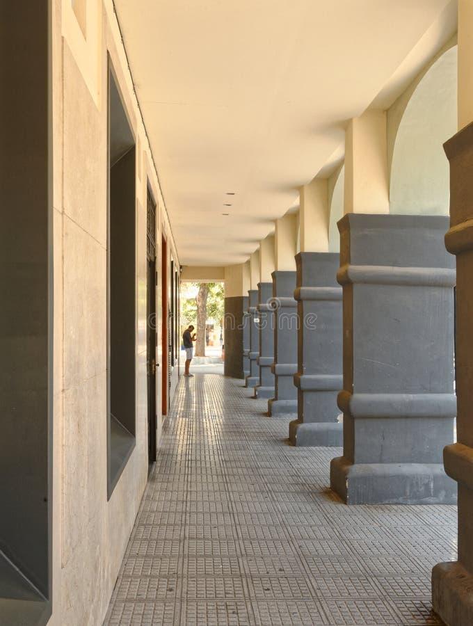 Ibiza oude stad, ibizan portiek pijlers stock afbeelding