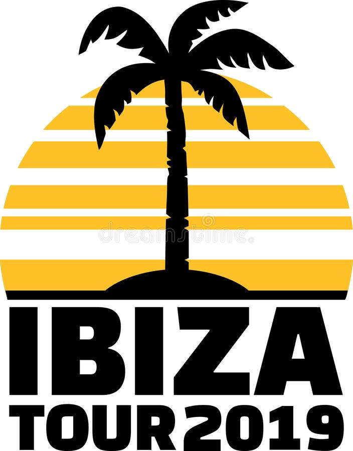 Ibiza 19 palmträd stock illustrationer