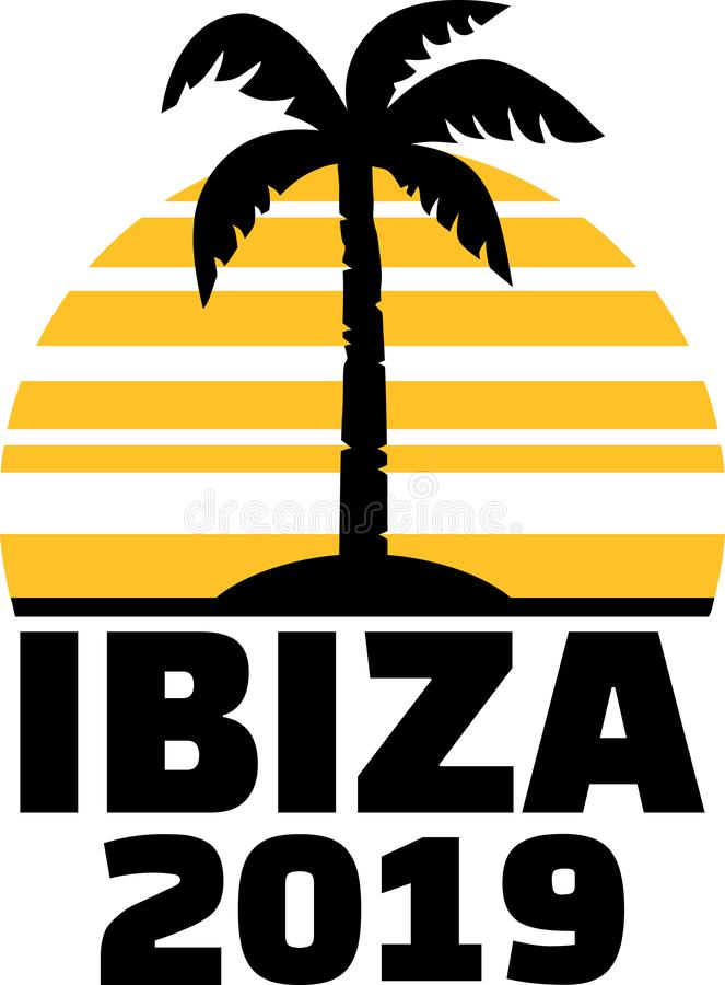 Ibiza palmträd 2019 royaltyfri illustrationer