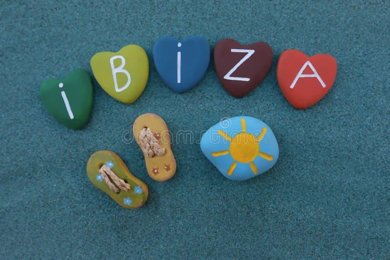 Ibiza, pamiątka z stubarwnymi kierowymi kamieniami obrazy royalty free