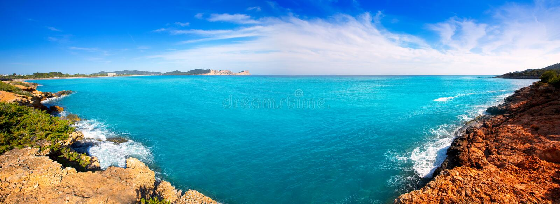 Ibiza Platja des Codolar and Cap des Falco at Balearics stock photo