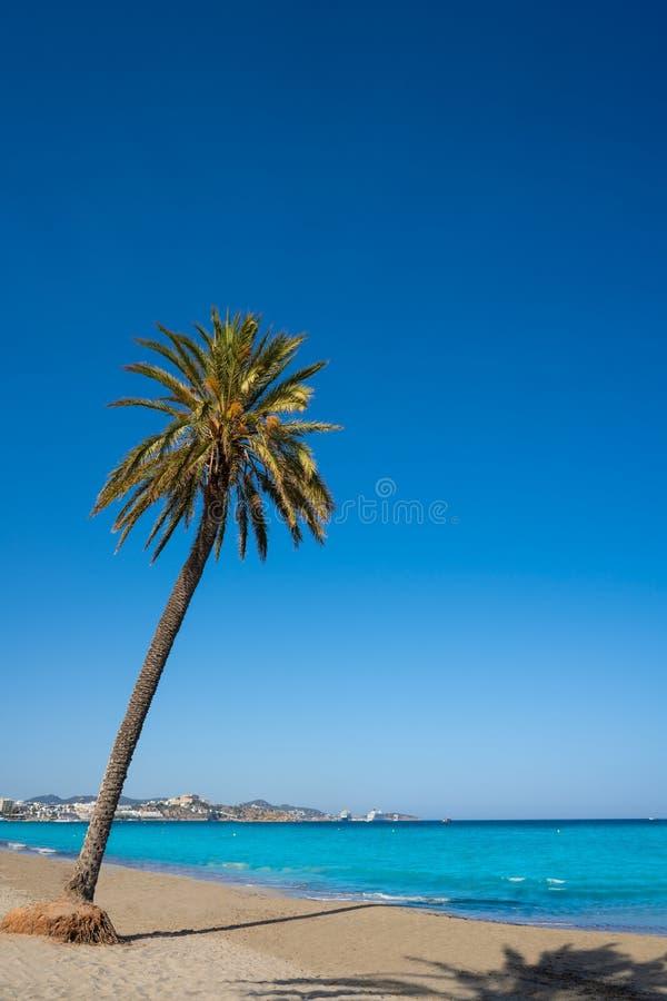 Ibiza Playa d En Bossa beach in Balearic Islands. Ibiza Playa d En Bossa beach in Sant Josep of Balearic Islands royalty free stock images