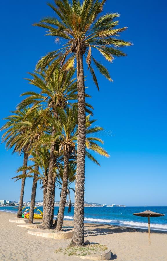 Ibiza Playa d En Bossa beach in Balearic Islands. Ibiza Playa d En Bossa beach in Sant Josep of Balearic Islands stock photos