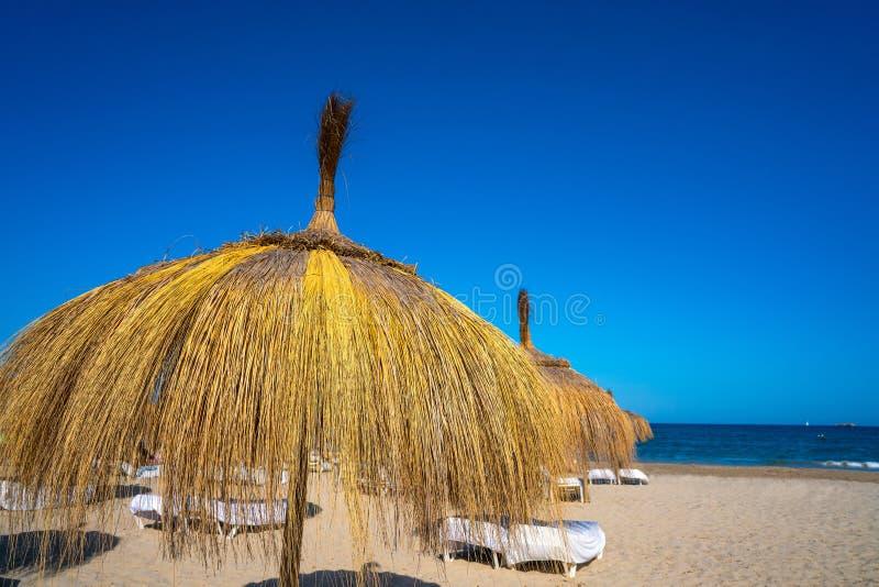 Ibiza Playa d En Bossa beach in Balearic Islands. Ibiza Playa d En Bossa beach in Sant Josep of Balearic Islands royalty free stock photo
