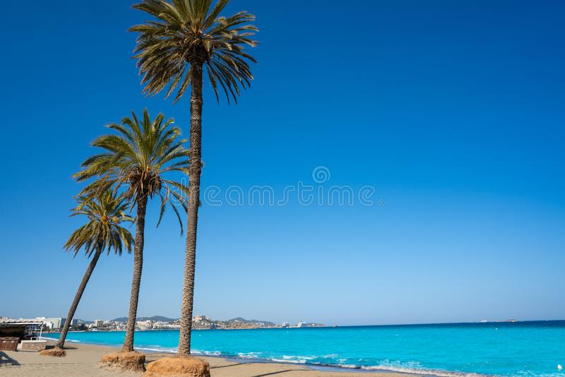 Ibiza Playa d En Bossa beach in Balearic Islands. Ibiza Playa d En Bossa beach in Sant Josep of Balearic Islands stock images