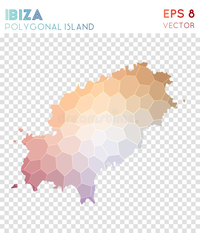 Ibiza polygonal översikt, mosaikstilö stock illustrationer