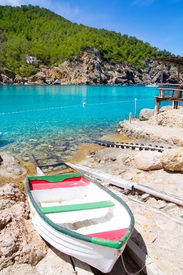 ibiza Port de Benirras海滩绿松石颜色 免版税库存图片