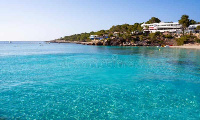 Ibiza Portinatx Arenal Gran beach in Balearics stock image