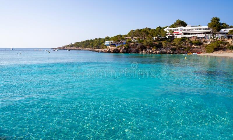 Ibiza Portinatx Arenal Gran plaża w Balearics obraz stock