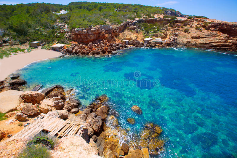 Ibiza Punta DE Sa Galera strand in San Antonio stock foto's