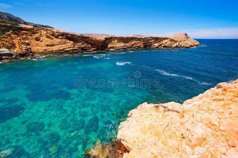 Ibiza Punta DE Sa Galera strand in San Antonio stock afbeeldingen