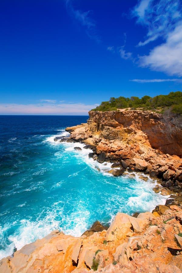 Ibiza Punta DE Sa Galera strand in San Antonio stock afbeelding