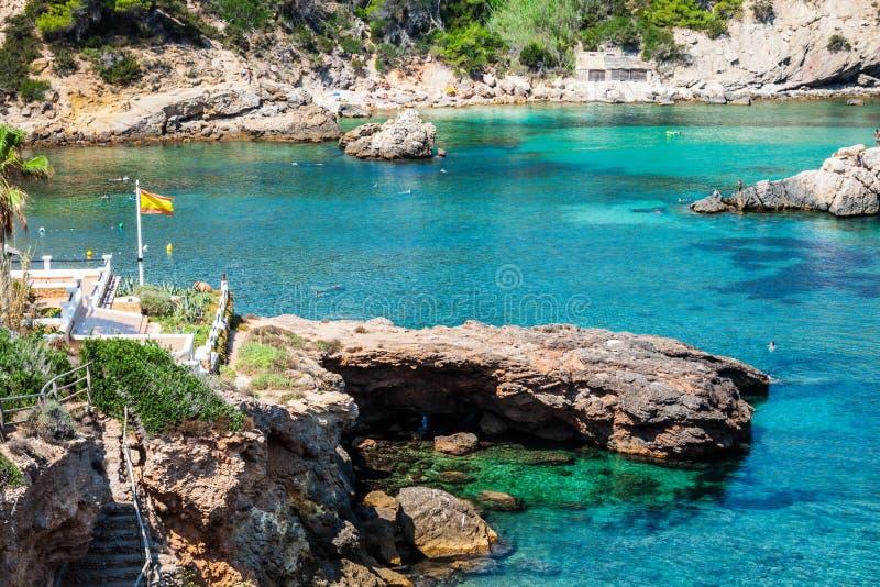 Ibiza Punta DE Xarraca turkoois strandparadijs in Baleaarse Isla royalty-vrije stock foto's