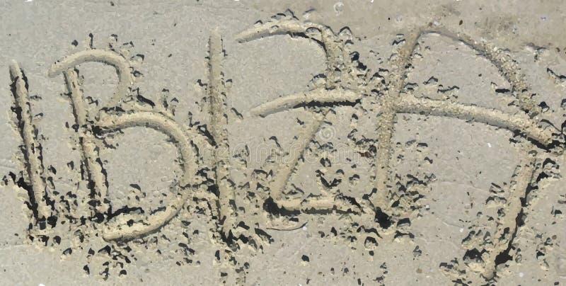 Ibiza rubrik i sanden stock illustrationer