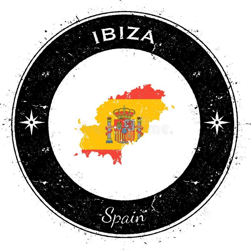 Ibiza runt patriotiskt emblem royaltyfri illustrationer