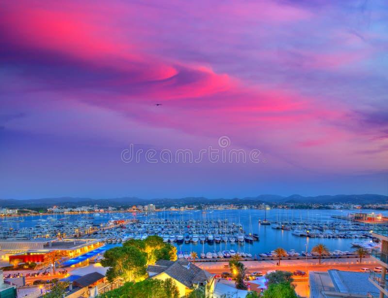 Ibiza San Antonio Abad Sant Antoni Portmany solnedgång royaltyfri foto