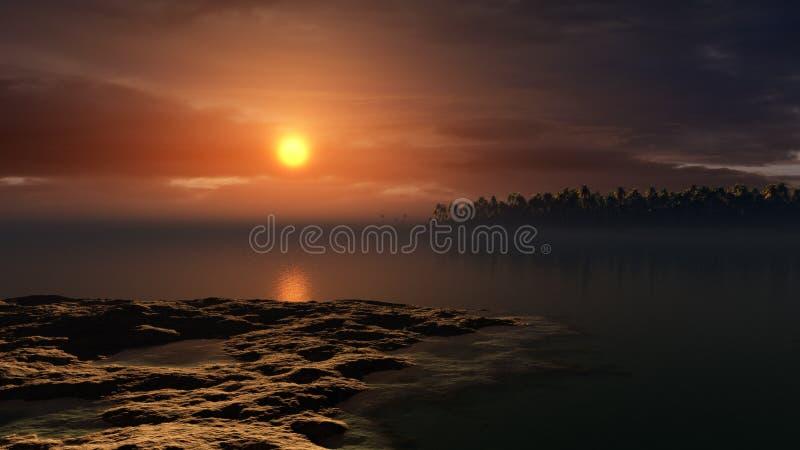 Ibiza solnedgång vektor illustrationer