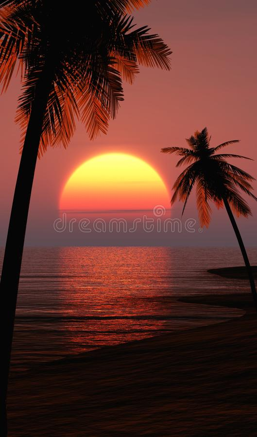 Ibiza-Sonnenuntergang kühlen heraus Strand stock abbildung