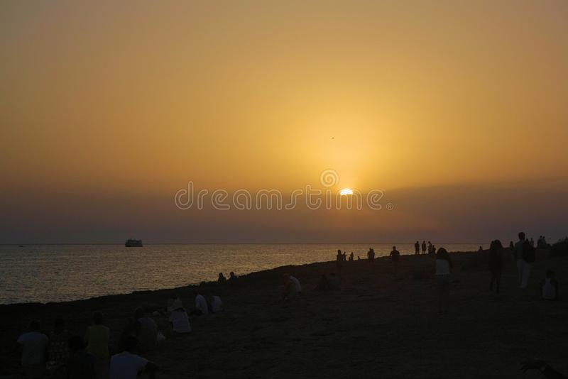 Ibiza-Sonnenuntergang-Strand lizenzfreies stockfoto