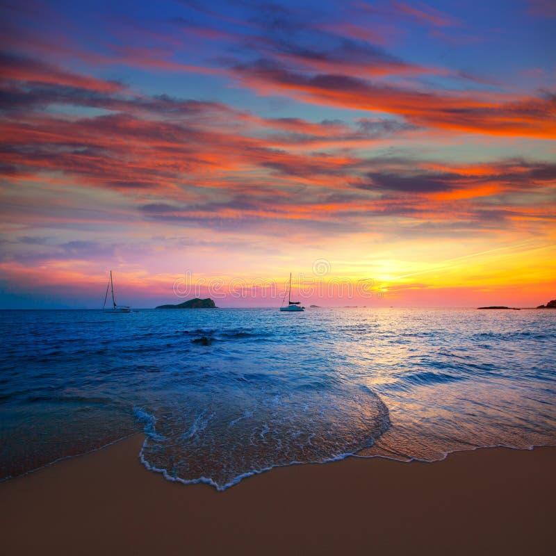Ibiza Sunset From Cala Conta Comte In San Jose Royalty Free Stock Photography