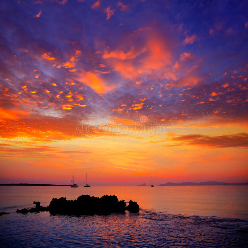 Free Ibiza Sunset View From Formentera Island Stock Images - 35465444