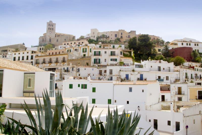Ibiza White Balearic Island Village Downtown Stock Image
