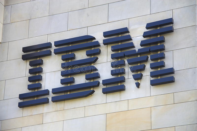 IBM. Shot of IBM logo. International Business Machines (IBM) is an American multinational technology and consulting firm headquartered in Armonk, New York. IBM