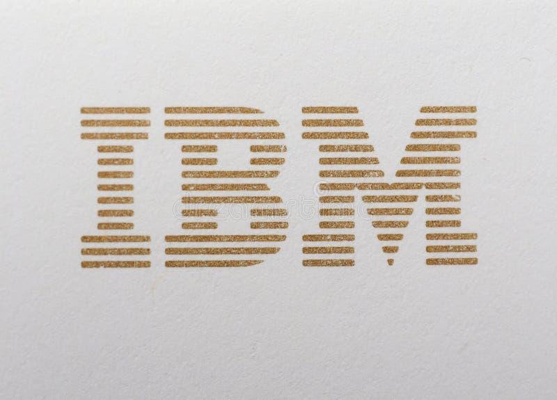 IBM logo printed on paper. NEW YORK, USA - CIRCA MAY 2016: Logo of International Business Machines Corporation, aka IBM, printed in golden ink on paper stock photos