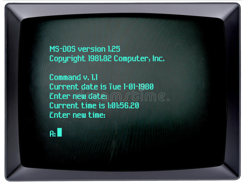 IBM PC Operating System. Old computer operating system for an IBM PC. Screen language set of Command line and 1980 date. Microsoft Disk Operating System or MS