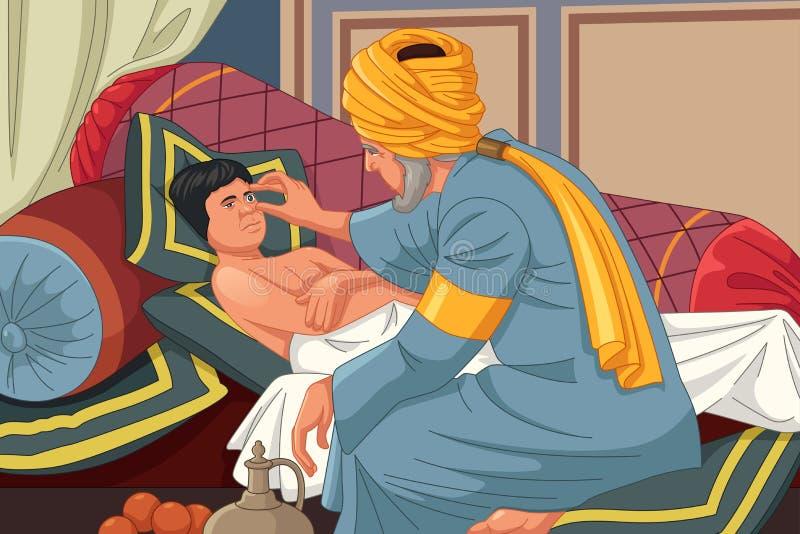 Ibn al-Haitam Arabian Optician Checking no paciente ilustração royalty free