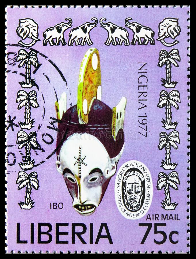 Ibomasker en Olifanten, het 2de Wereld Zwarte en Afrikaanse Festival van Kunsten en Cultuur serie, circa 1977 royalty-vrije stock foto's