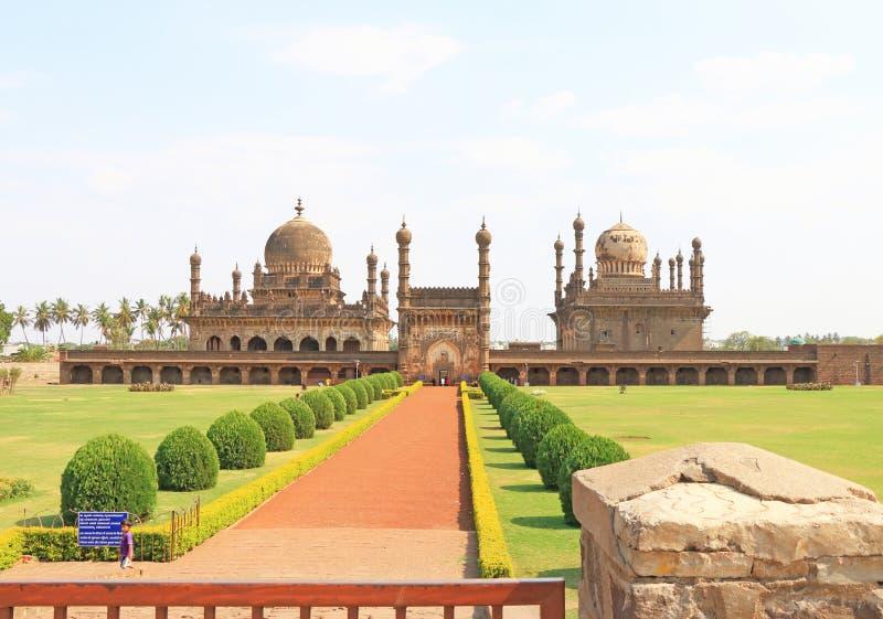 Ibrahim Rauza Mosque bijapur india. Magnificent Ibrahim Rauza mosque and grounds bijapur stock photography