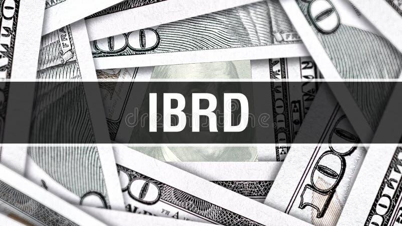 IBRD-Nahaufnahme-Konzept Amerikanische Dollar des Bargeld-, Wiedergabe 3D IBRD an der Dollar-Banknote Finanz-USA-Geldbanknote Han lizenzfreie abbildung