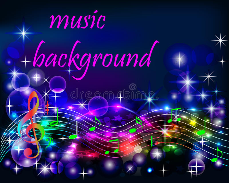 Neon Music Notes Wallpaper: Ibright Shiny Neon Background Music With Notes Stock