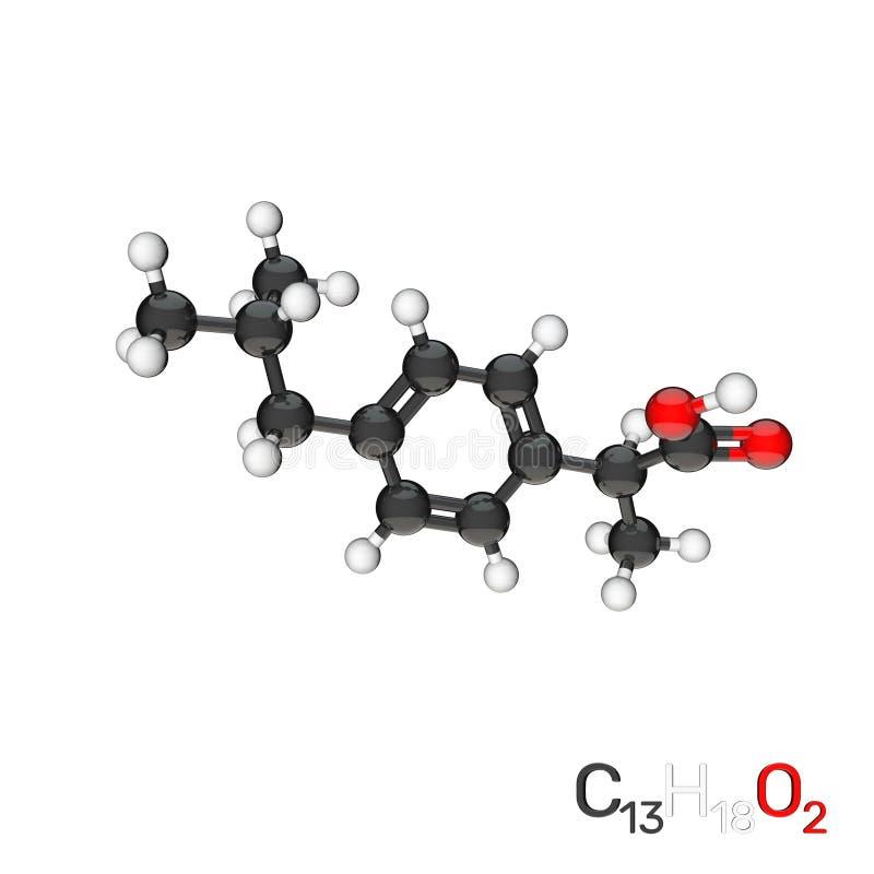 Ibuprofen wzorcowa moleku?a pojedynczy bia?e t?o ?liwek 3 d ?atwej edycji ilustracj? do akt ?cie?ka ?wiadczenia royalty ilustracja