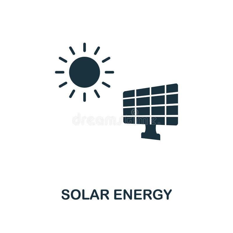 Icône à énergie solaire Conception monochrome de style de collection d'icône de puissance et d'énergie Ui Énergie solaire simple  illustration libre de droits